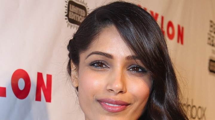 Freida Pinto Pink Lips N Face Closeup At Nylon Magazine Celebration